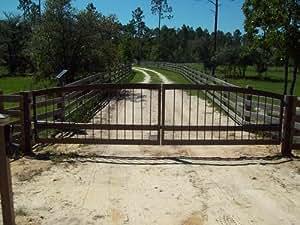 12 39 aluminum dual swing driveway gate 14764 for Aluminum driveway gates prices