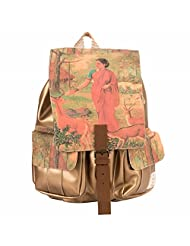 The House Of Tara Golden Faux Leather And Canvas Ethnic Art Backpack (Multicolour)