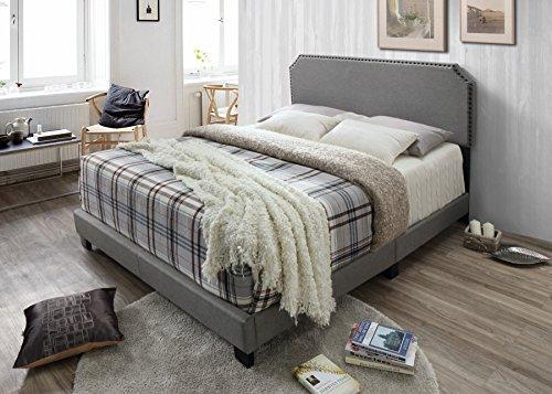 Headboard And Footboard Queen: Light Grey Linen Fabric Queen Size Upholstered Nailhead