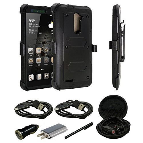 ZTE Imperial Max Z963U Case, ZTE Kirk Z988 Case, ZTE Max Duo Case, ZTE Grand X Max 2 Case, Dual Layer Hybrid With [Built-in Screen Protector] Holster Locking Belt Clip With Accessories (Black) (Zte Imperial Charging Case compare prices)