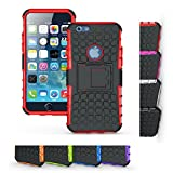 iPhone 6s Case, HLCT Rugged Shock Proof Dual-Layer Case with Built-In Kickstand for iPhone 6s / 6 4.7 Inch (Red / No Logo)