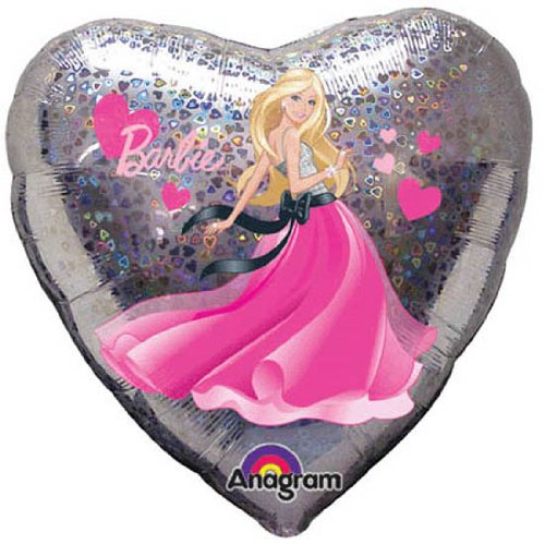 "Anagram International Holographic Barbie Heart Foil Balloon Pack, 18"", Multicolor - 1"