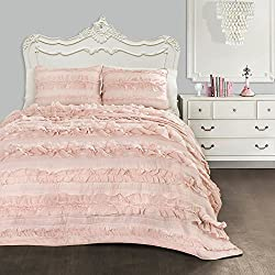 Lush Decor C43424P15-000 Belle 3Piece Quilt Set, King, Pink Blush,King