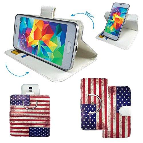 Mobistel Cynus T6 / T8 360 print Smartphone Tasche / Schutzhülle mit 360° Dreh und Standfunktion - 360 Amerika Nano L