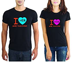 LaCrafters Couple tshirt - Lots of Love Couples Tshirt_Black_S - Set of 2