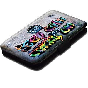 Keep Calm 10003, Keep Calm And Carry On, Etui Personnalisé Coque Housse Cover Coquille en Cuir Noir avec Dessin Coloré pour Samsung Galaxy S3 i8190 Mini.