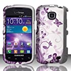 Samsung Galaxy Proclaim S720c Case (Straight Talk) Purple Sensational Butterflies Hard Cover Protector with Free Car Charger + Gift Box By Tech Accessories