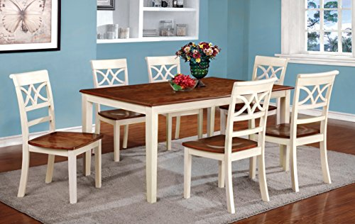 Furniture of America Cherrine 7-Piece Country Style Dining Set, Oak/Vintage White