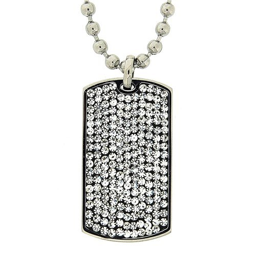 Stainless Steel Crystal Encrusted Dog Tag Pendant on 20