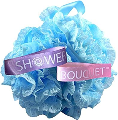 Loofah Bath Sponge Lace Set by Shower Bouquet: Mesh Pouf - Large Full 60g (4 Pack, 4 Colors) Floral Luffa Loofa Loufa Puff Scrub - Exfoliate, Cleanse, Soothe Skin with Luxurious Bathing Accessories