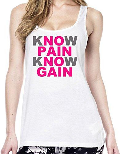 Know Pain No Gain Slogan Tunica delle donne Medium