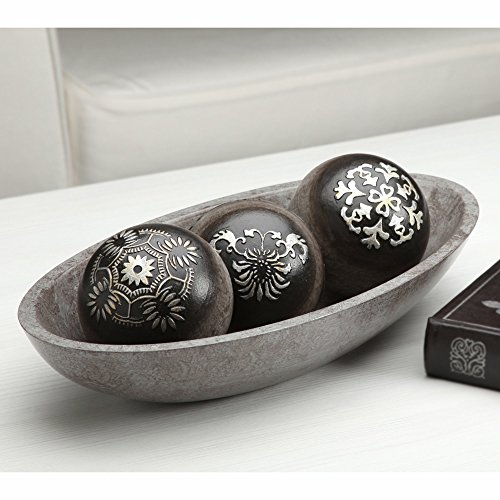 Elegant Expressions Black And Silver Decorative Orb Set WBowl In Stunning Decorative Orbs For Bowls