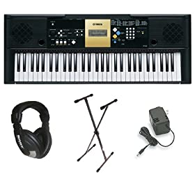 Yamaha YPT220 61 Key Personal Keyboard with AC Adapter, Deluxe Keyboard Stand and Professional Headphones