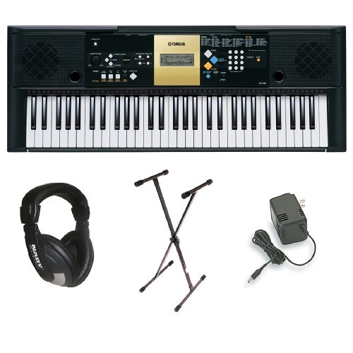 Yamaha Ypt-220 61 Key Personal Keyboard With Ac Adapter, Deluxe Keyboard Stand And Professional Headphones