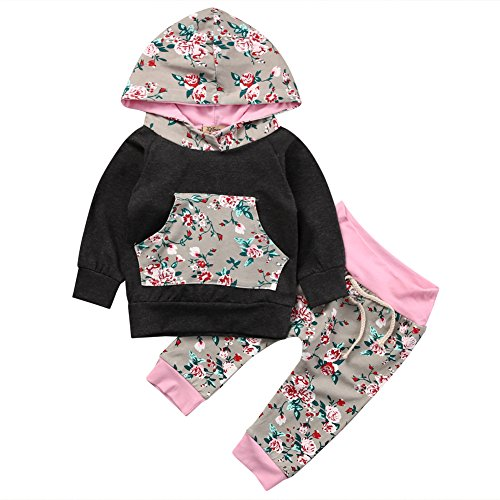 Baby Girl 2pcs Set Outfit Black Hoodie with Pocket Top+Floral Long Pants (18-24months, Black)