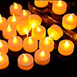 Techbee 24 Pack Flameless LED Tea Lights Candles Battery-Included Beautiful and Elegant LED Fake Realistic Tealights with Warm Yellow Color