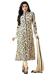 Marvadi Collections Womens Designer Fancy White Georgette Partywear Wedding Straight Salwar Suit