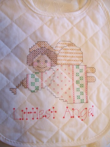 Littest Angel Stamped Cross Stitch Baby Bib