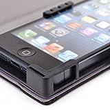 PU Leather Universal Book Folio Phone Cover fits HTC First Case - BLACK & PURPLE. Bonus Ekatomi Screen Cleaner