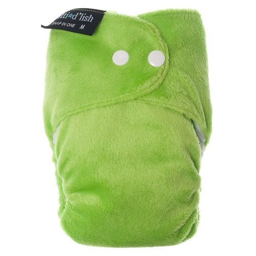 Itti Bitti d'Lish snap-in-one nappy, lime, medium (14.5-26.5lbs), minkee outer, microfibre, bamboo and organic cotton inner