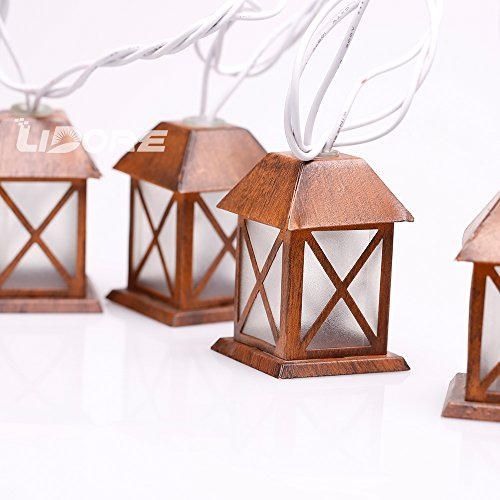 LIDORE Set of 10 Warm White Glow Bronze Metal House Shaped Lantern Plug-in String Light - For indoor/outdoor 4