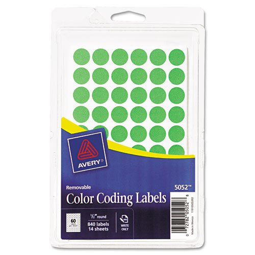 Avery Products - Avery - Removable Self-Adhesive Color-Coding Labels, 1/2in dia, Neon Green, 840/Pack - Sold As 1 Pack - Ideal for a wide range of tasks. - Repositionable. - Residue-free removal.