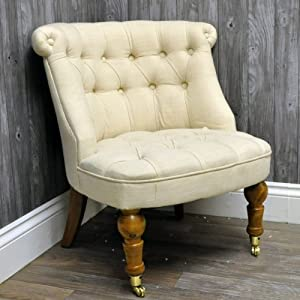 Antique Finish Cream Linen Buttoned Louis Bedroom Chair
