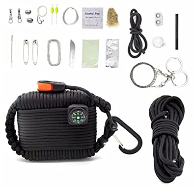 Survival Kit with 30 Pieces of Survival Gear by FirstChair including Compass Whistle Water Purification Fishing Gear Survival Knife and More
