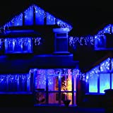 LEDWholesalers 16.4 Feet 150 LED Icicle Christmas Holiday Lights with Green Wire - blue - 2064BU
