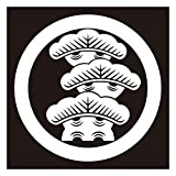 貼り紋シールタイプ6枚1組 黒地着物・羽織用 (丸に右三階松) 女性用 (クロネコDM便発送)