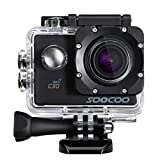 Sports Camera, SOOCOO 4K Action Camera 20MP 2.0 Inch Waterproof Diving Camera with 2 Batteries and 18 Accessories Kit Included - Black + Wifi (Memory Card Not Included)