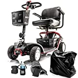 LiteRider 4-Wheel Folding Light Scooter GL140 + Challenger Mobility Accessories + 3-Year Extended Warranty (BLUE)