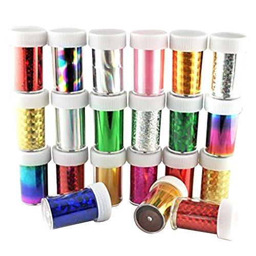 Contever® 30 Rotoli Transfer Foil Adesivi e Decalcomanie Unghie Nail Art del Glitter