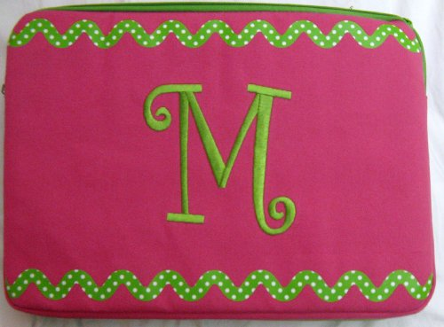 """Mainstreet Collection(Msc) Fashion 15"""" Soft Laptop Monogrammed (M) Case Pink & Green (Lime) 15.25"""" X 11.25"""" front-210239"""