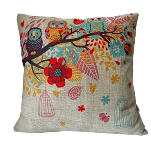 Cotton Linen Square Decorative Throw Pillow Case Cushion Cover Owls with Birdcage 18