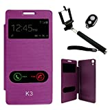 DMG Premium Diary Flip Book Cover Case For Lenovo K3/A6000+/A6000 (Purple) + Handheld Selfie Monopod With Bluetooth...