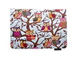 ThanksCase Sky Blue Owls Case Cover for Amazon Kindle Fire HD 7 2nd Gen 2013 Release (will only fit All New Kindle Fire HD 7) Canvas Owls Case with Standing Feature with Elastic Hand Strap for Secure Grip of the Case with Your Go for New HD 7 2013.(Sky B
