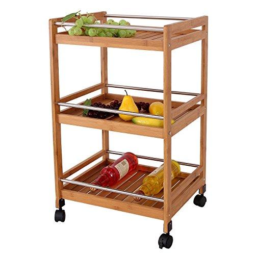 Songmics carrello da cucina legno portavivande mobiletto for Carrello portavivande amazon