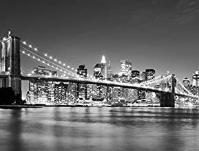 J.P. London PMUR2041 Peel and Stick Removable Wall Decal Sticker Mural, New York City Skyline Black and White, 4 X 3-Feet