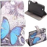 Voguecase� Schutzh�lle Tasche Leder Brieftasche H�lle Case Cover f�r Wiko Lenny (blau Schmetterling) + Gratis Universal Eingabestift