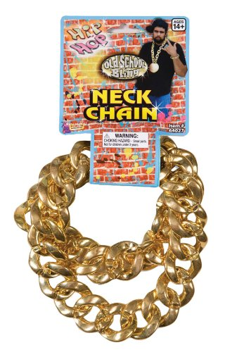 26 Inch 80's Hip Hop Old School Bling Big Link Fake Gold Necklace (Plastic)