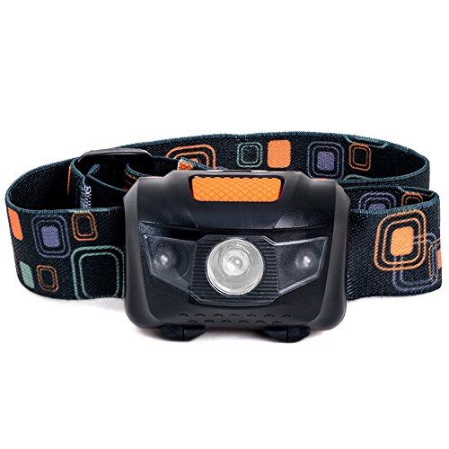 LED Headlamp - Great for Camping, Hiking, Biking and Kids. One of the Brightest and Lightest (2.6 oz) Headlight. Water & Shock Resistant Flashlight with Red Strobe. 3 AAA Duracell Batteries Included!