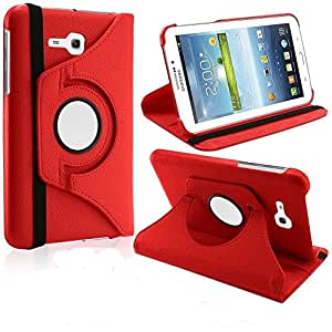 MVTH 360 Degree Rotating Smart Leather Book Case Rotatable Flip Cover forSamsung Galaxy Tab 3 Lite T110 T111 - Red