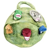 Plush Dinosaur House with Dinosaurs - Five (5) Stuffed Animal Dinosaur in Play Dinosaur Carrying Case (Color: Green)