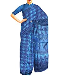 Unnati Silks Women Pure Handloom Tusser Silk Printed Blue Saree