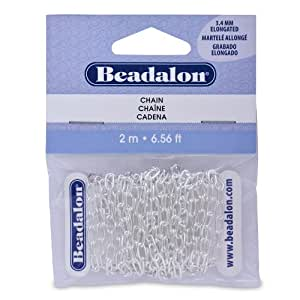 Beadalon Chain 3.4mm Elongated Silver Plated, 2-Meters