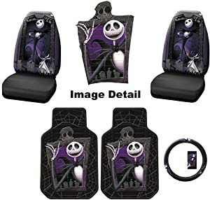 5PC Nightmare Before Christmas Jack Skellington Graveyard NBC Auto Accessories Interior Combo Kit Gift Set - Front Floor Mats, Seat Cover and Steering Wheel Cover by Plasticolor