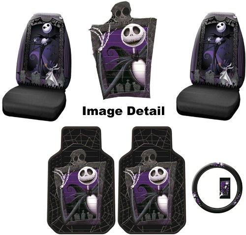 5pc nightmare before christmas jack skellington graveyard nbc auto accessories interior combo. Black Bedroom Furniture Sets. Home Design Ideas