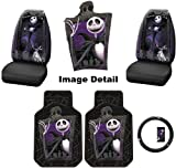 5PC Nightmare Before Christmas Jack Skellington Graveyard NBC Auto Accessories Interior Combo Kit Gift Set - Front Floor Mats, Seat Cover and Steering Wheel Cover