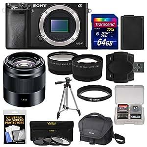 Sony Alpha A6000 Wi-Fi Digital Camera Body with 50mm f/1.8 OSS Lens + 64GB Card + Case + Battery + Tripod + Tele/Wide Lens Kit